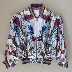 Anthropologie Elevenses Silky Floral Bomber Jacket